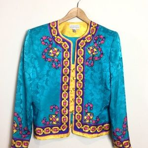 5f67d19d5dbd1 Vintage Adrianna Papell Silk Chain Printed Blouse